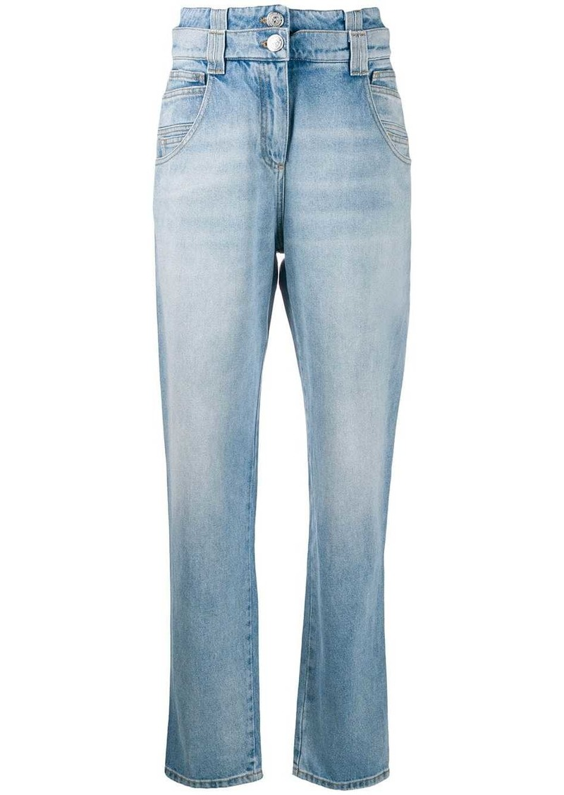 Balmain layered waist loose jeans