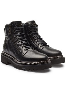 Balmain Leather Ankle Boots with Chain Embellishment