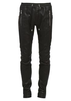 Balmain Leather Jogger Pants