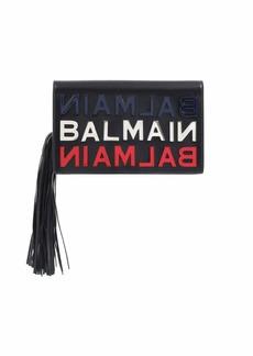 Balmain Leather Logo Tasseled Clutch Bag