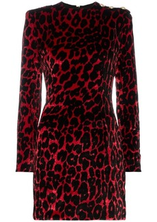 Balmain leopard print silk mini dress