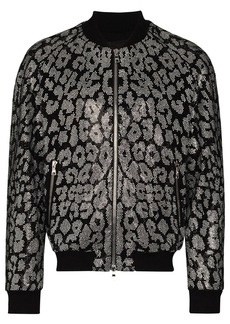 Balmain leopard-rhinestone bomber jacket
