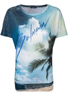 Linen T-shirt with Balmain logo print