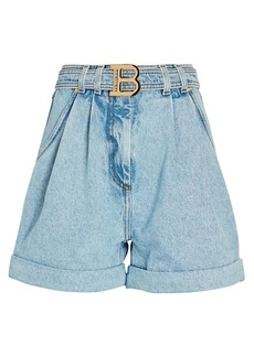Balmain Logo Belted High-Rise Denim Shorts