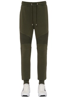 Balmain Logo Biker Rib Cotton Jersey Sweatpants