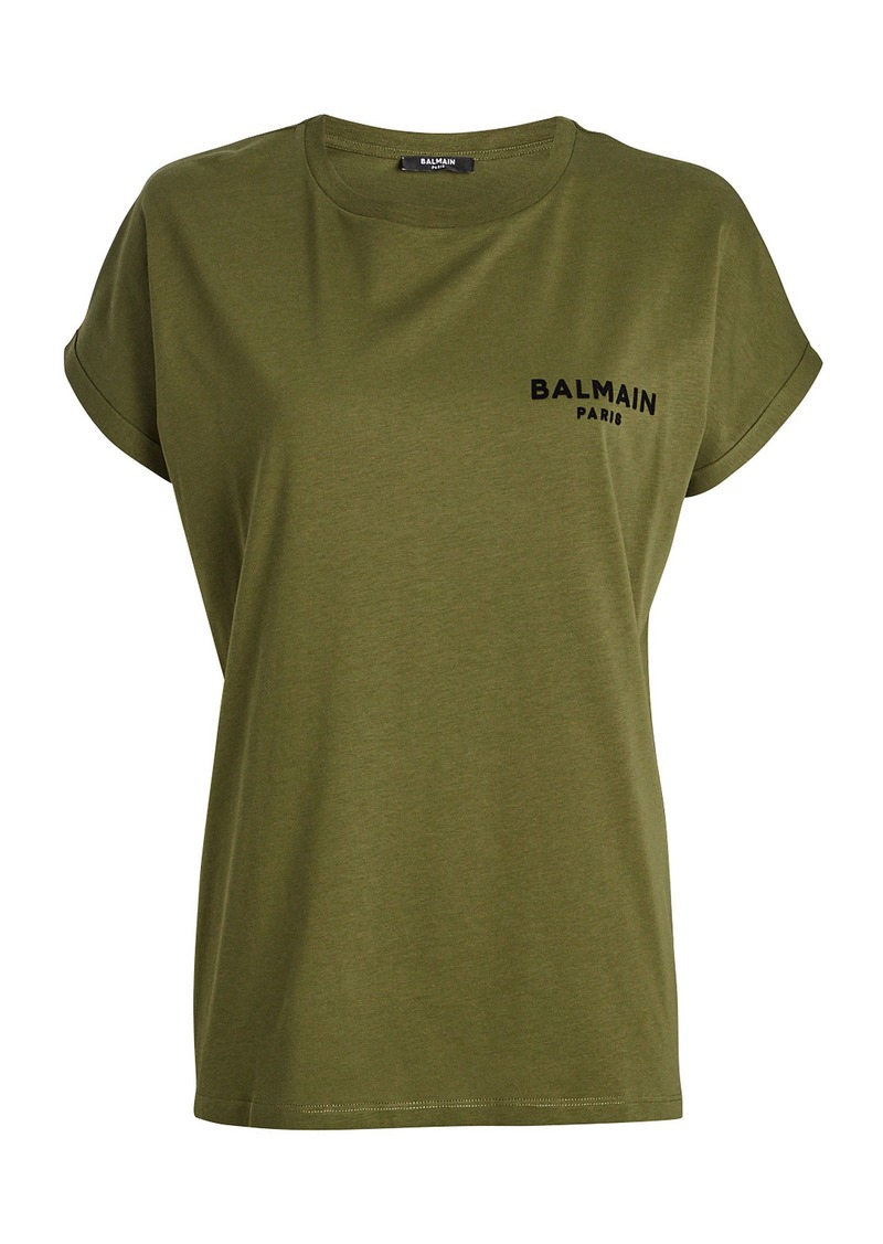 Balmain Logo Cotton Crewneck T-Shirt