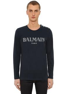 Balmain Logo Cotton Jersey Long Sleeve T-shirt