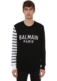 Balmain Logo Cotton Knit Crewneck Sweater