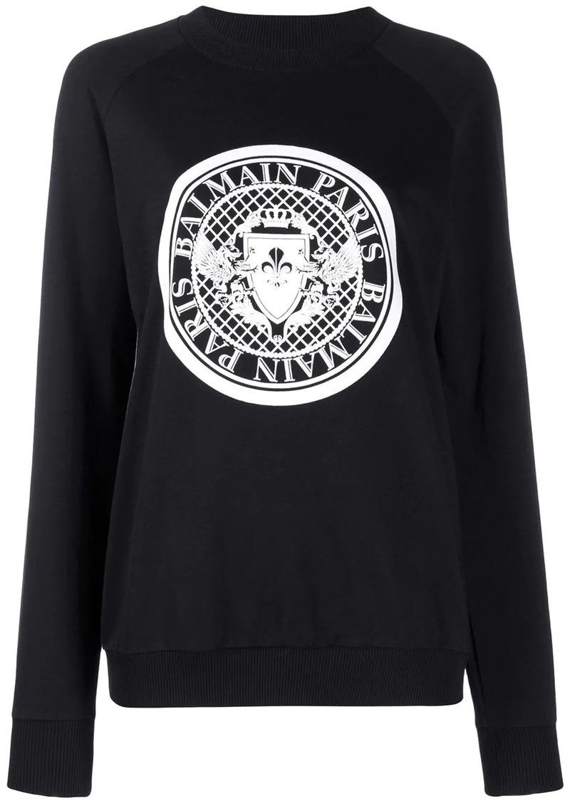 Balmain logo crest sweatshirt