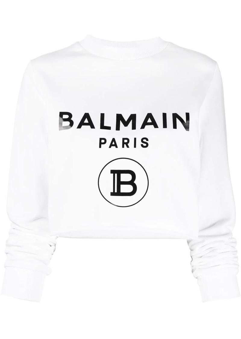 Balmain logo cropped sweatshirt