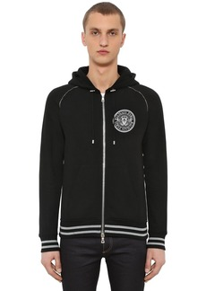 Balmain Logo Detail Jersey Sweatshirt Hoodie