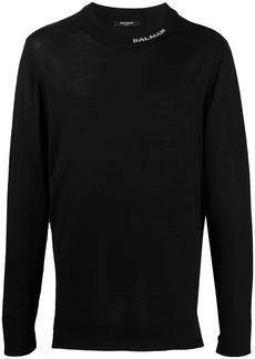 Balmain logo detail knitted jumper
