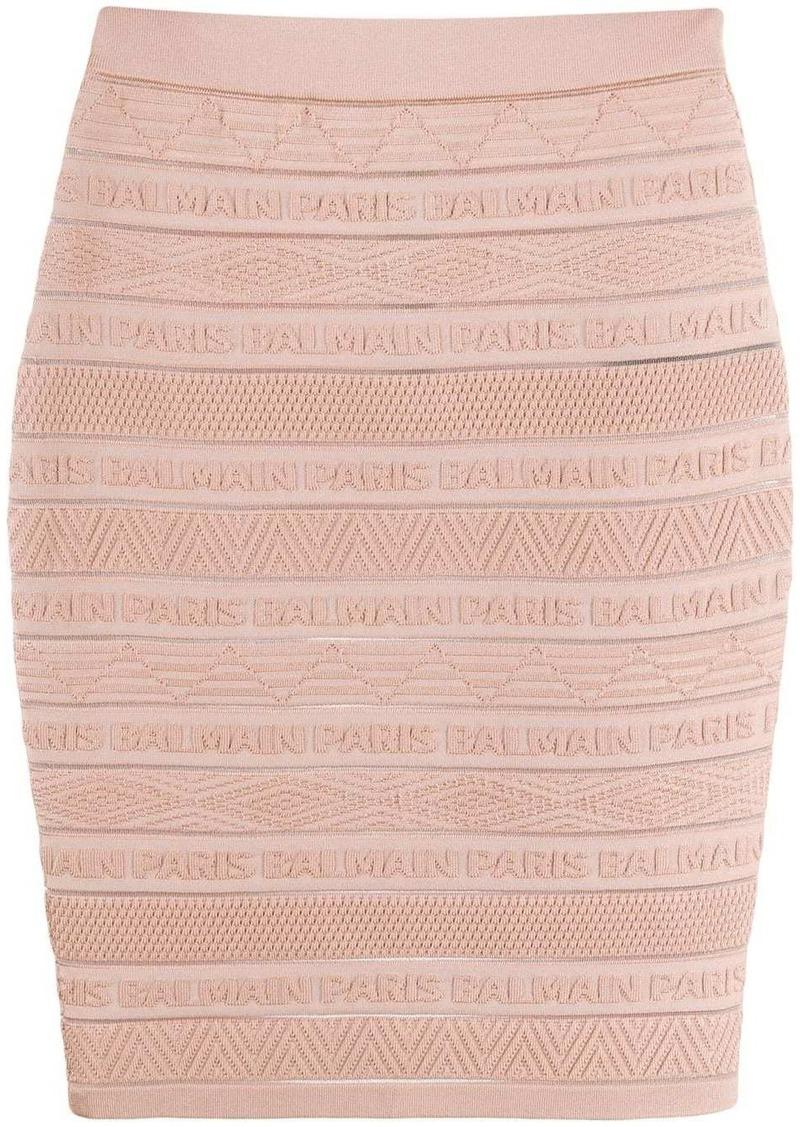 Balmain logo-embellished skirt