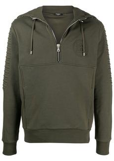 Balmain logo-embossed half-zip hoodie