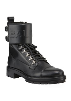 Balmain Logo-Embossed Leather Military Boot