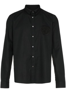 Balmain logo embroidered cotton long sleeve shirt