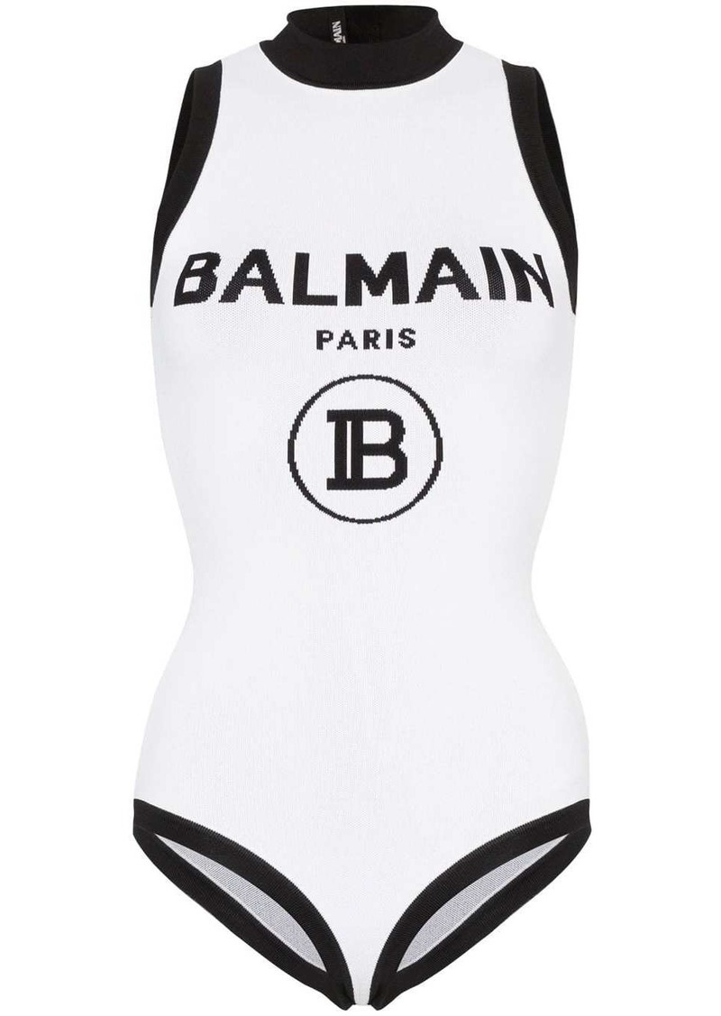 Balmain logo intarsia bodysuit
