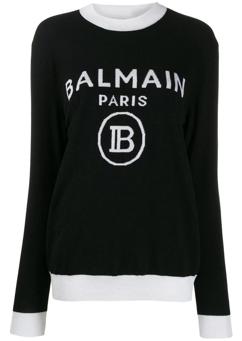 Balmain logo intarsia jumper