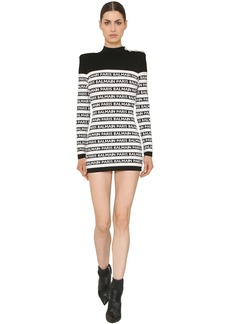 Balmain Logo Intarsia Knit Mini Dress