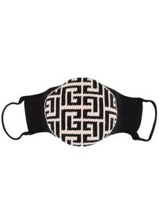 Balmain logo-intarsia knitted cotton face mask