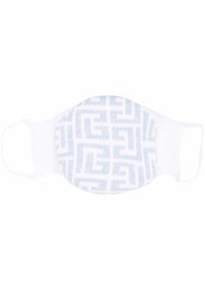 Balmain logo-intarsia knitted cotton mask