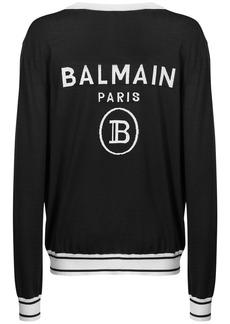 Balmain Logo Intarsia Wool Knit Cardigan