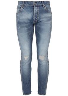 Balmain Logo Jacquard Slim Cotton Denim Jeans