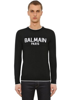 Balmain Logo Jacquard Wool Knit Sweater