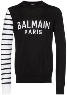 Balmain logo knit contrast-sleeve jumper
