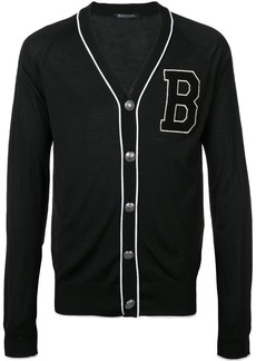 Balmain logo patch cardigan