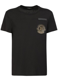 Balmain Logo Patch Cotton Jersey T-shirt