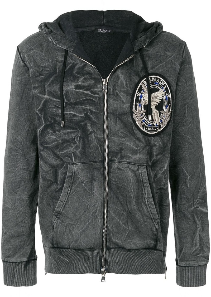 Balmain logo patch hoodie