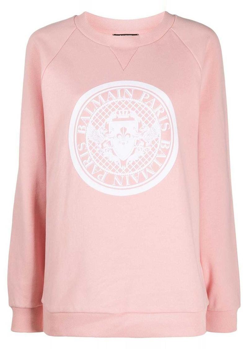 Balmain logo print crewneck sweatshirt