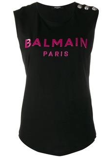 Balmain logo print tank top