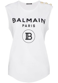 Balmain logo print vest top