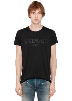 Balmain Logo Printed Cotton Jersey T-shirt