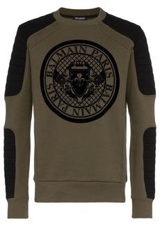 Balmain logo printed crew neck cotton sweater