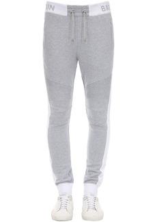 Balmain Logo Rib Cotton Jersey Sweatpants