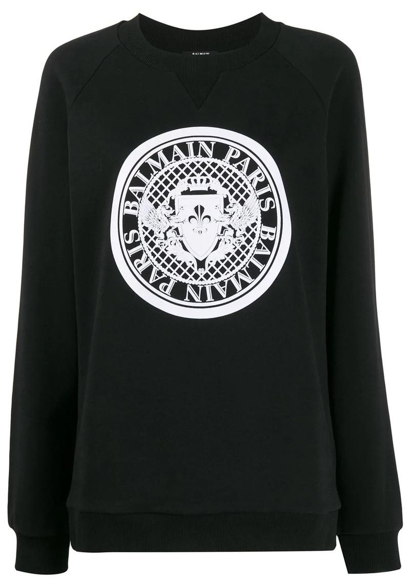 Balmain logo ribbed crewneck sweatshirt