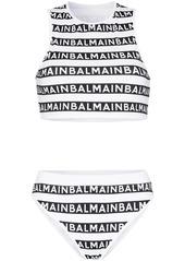 Balmain logo-print bikini