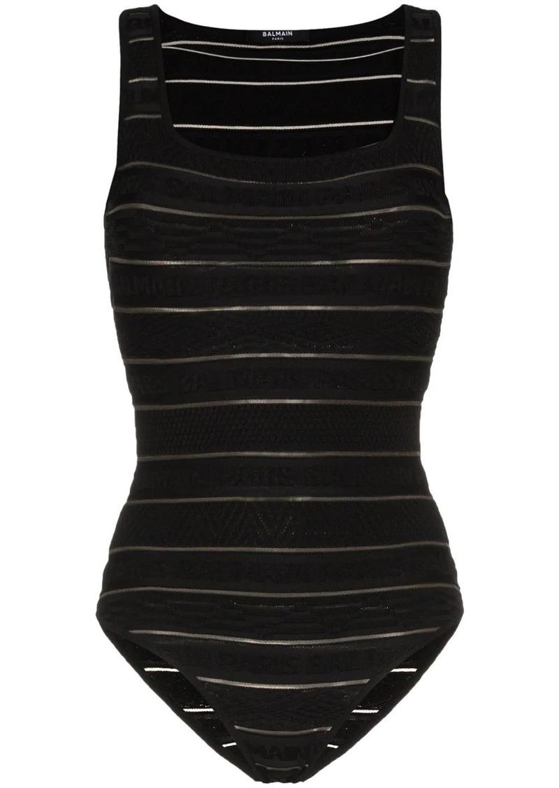 Balmain logo stripe bodysuit