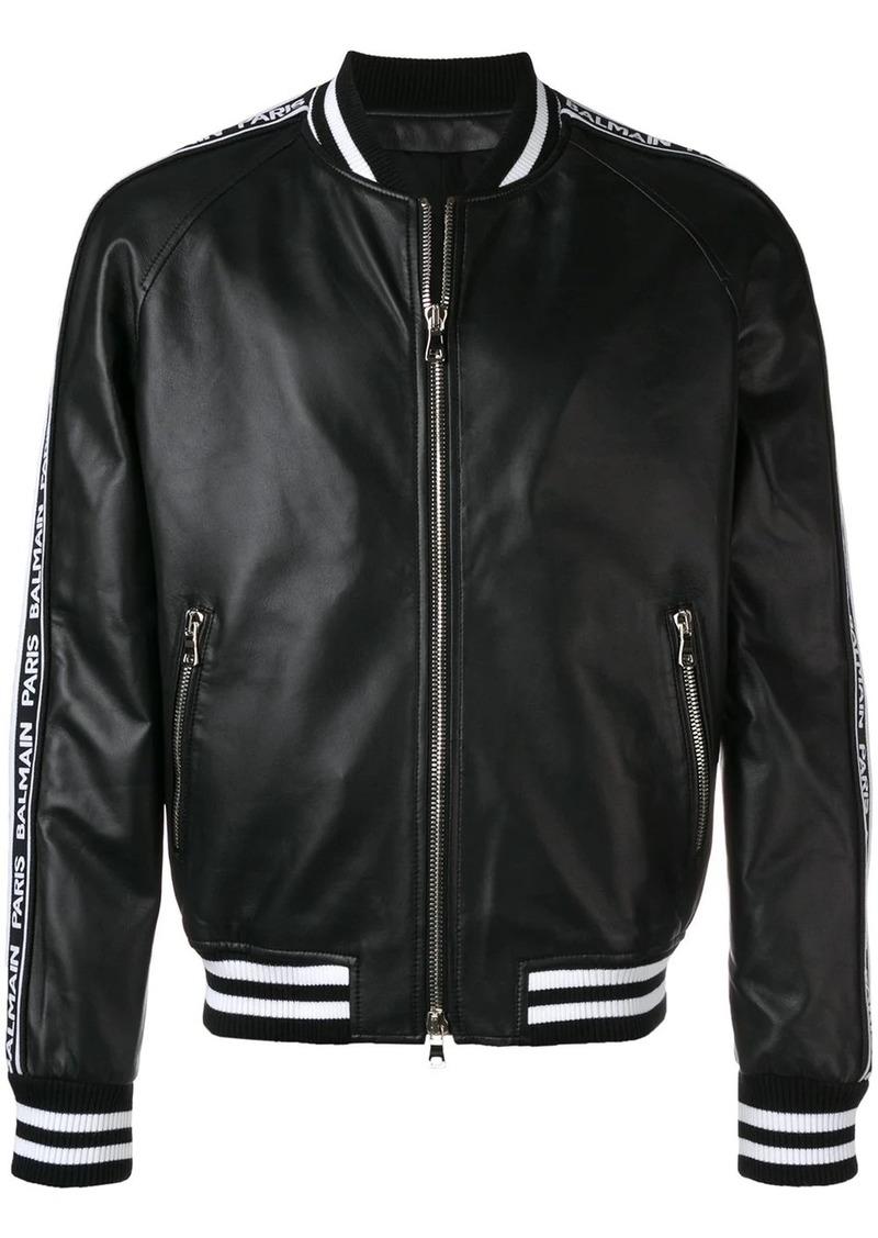 Balmain logo stripe bomber jacket