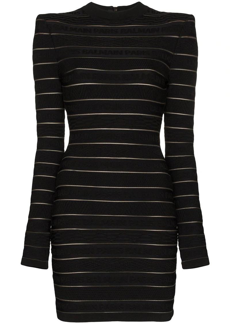Balmain logo stripe mini dress
