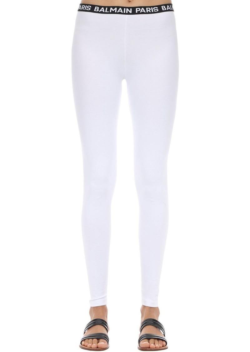 Balmain Logo Waistband Cotton Leggings