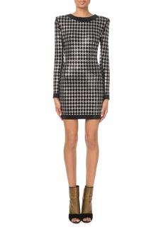 Balmain Long-Sleeve Diamond-Jersey Mini Dress