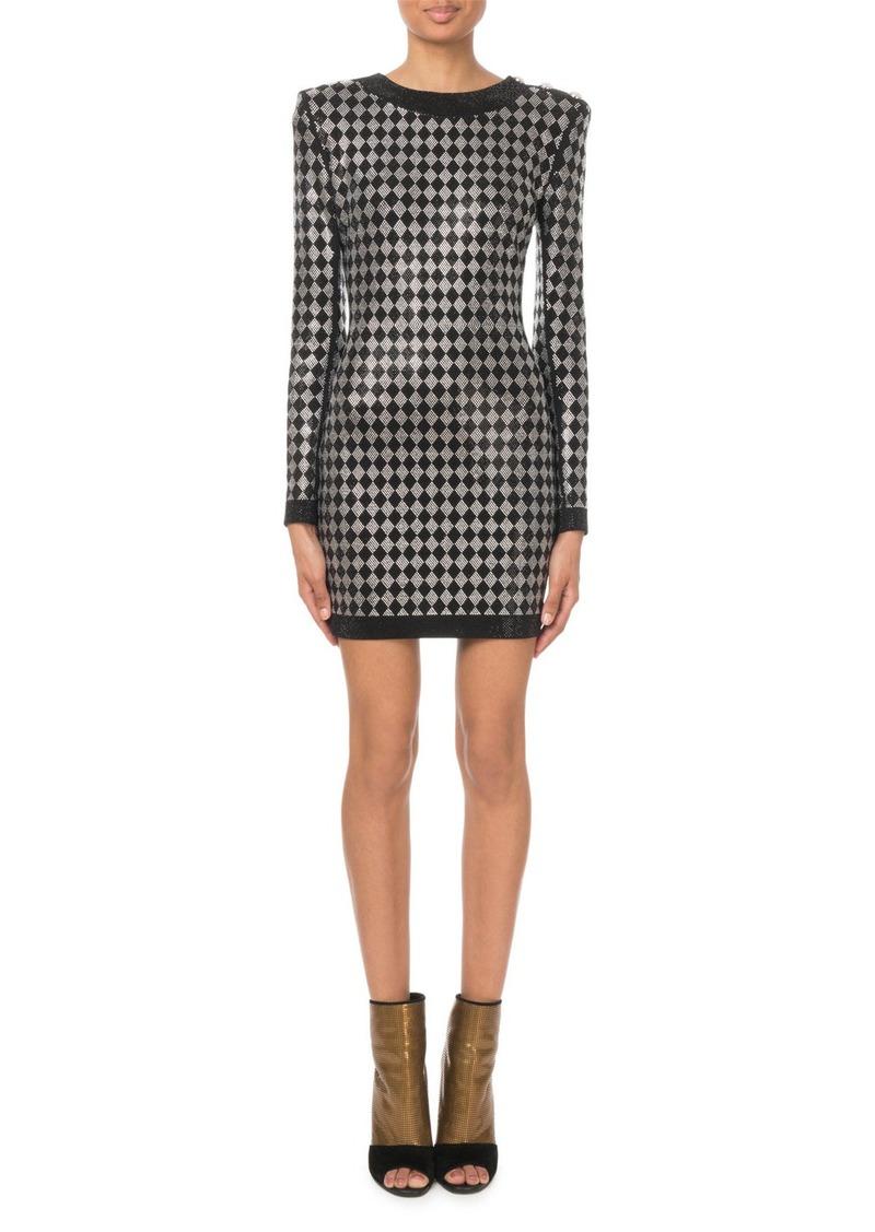 0000e34c Balmain Long-Sleeve Diamond-Jersey Mini Dress | Dresses