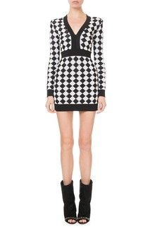 Balmain Long-Sleeve Diamond Knit Mini Dress