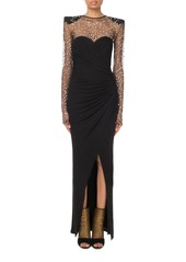 Balmain Long-Sleeve Embellished-Tulle Illusion Gown