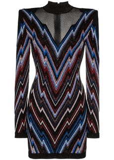 Balmain chevron pattern mesh panel knit mini dress