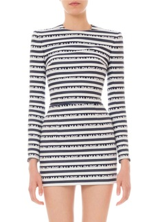 Balmain Long-Sleeve Logo-Striped Mini Dress
